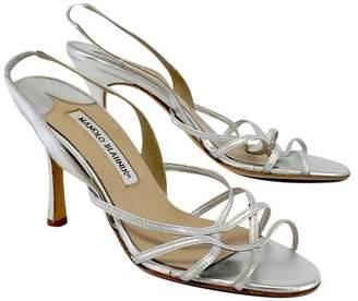 Manolo Blahnik Silver Leather Strappy Sandals Sz 7