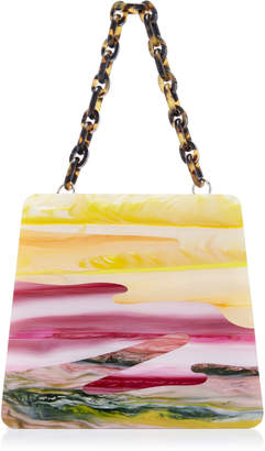 Edie Parker Hardbody Abstract Sunset Acrylic and Nappa Top-Handle Bag