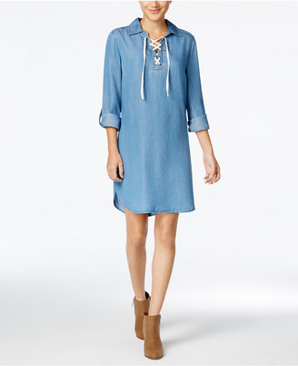 Style & Co Lace-Up Denim Dress, Only at Macy's $59.50 thestylecure.com