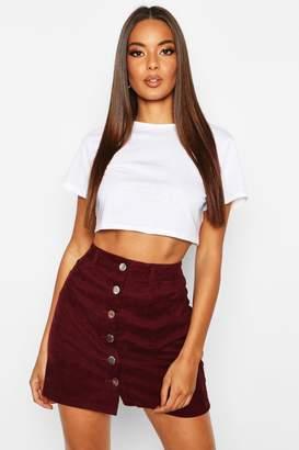 boohoo Button Through Cord Mini Skirt