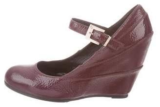 Fendi Patent Leather Round-Toe Wedges