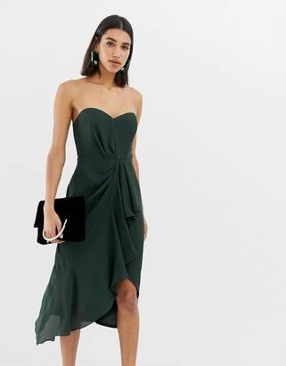 Asos DESIGN structured bandeau midi dress with drape front
