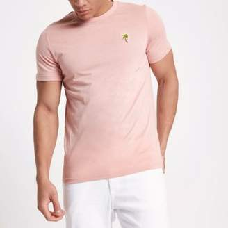 River Island Jack and Jones pink palm embroidered T-shirt