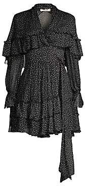 Diane von Furstenberg Women's Martina Tiered Polka Dot Silk A-Line Wrap Dress