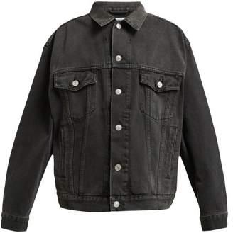 Balenciaga Crystal Encrusted Denim Jacket - Womens - Grey