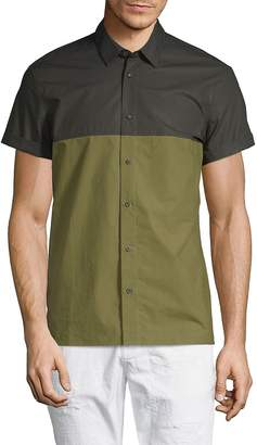 Scotch & Soda Men's Colorblock Cotton Button-Down Shirt - Green-black, Size xl