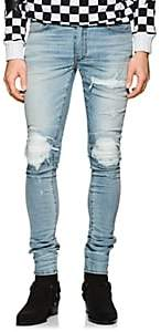 Amiri Men's MX1 Leather-Inset Slim Jeans - Lt. Blue