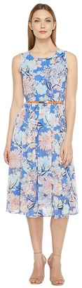 Christin Michaels - Danielle Sleeveless Floral Dress with Belt Women's Dress $105 thestylecure.com