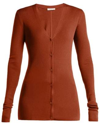 The Row Lana Ribbed Knit Silk Cardigan - Womens - Brown