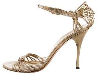 Gucci Metallic Crocheted Sandals