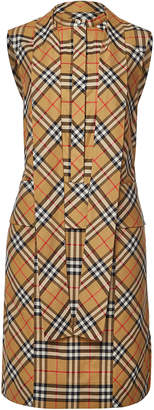 Burberry Luna Checked Dress with Self-Tie Bow