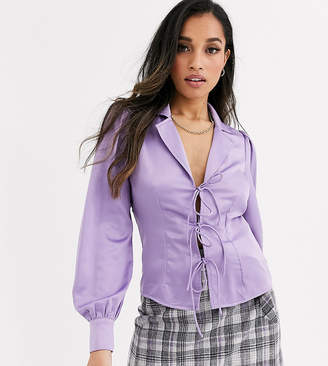 Fashion Union Petite tie front satin blouse