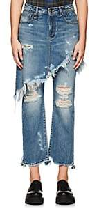 R 13 Women's Double Classic Distressed Crop Levi's® Jeans - Md. Blue
