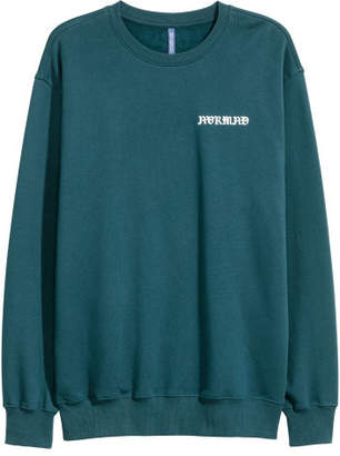 H&M Sweatshirt with Printed Design - Turquoise
