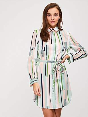 Shein Waist Belted Stripe Shirt Dress