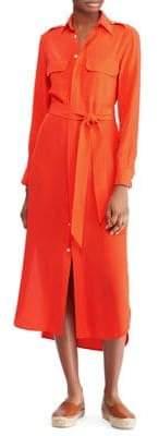 Polo Ralph Lauren Belted Silk Shirt Dress