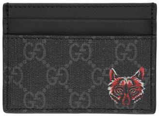 Gucci Black GG Supreme Wolf Card Holder