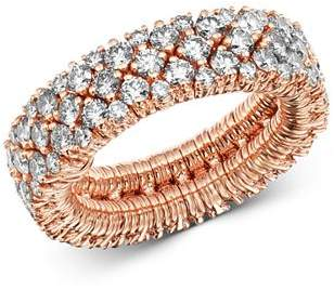 Roberto Demeglio 18K Rose Gold Cashmere Collection Stretch Ring with Champagne Diamonds