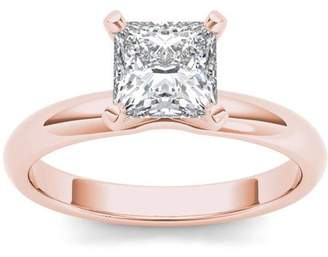 Imperial Diamond Imperial 1 Carat T.W. Diamond Princess-Cut Solitaire 14kt Rose Gold Engagement Ring