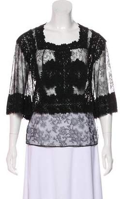 Givenchy Short Sleeve Lace Blouse