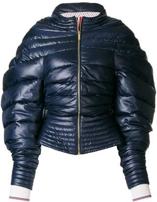 Thom Browne Downfill Hooded Jacket With Center Front Zip In Ripstop