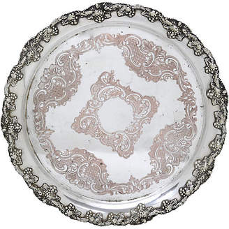 One Kings Lane Vintage Antique English Sheffield Plate Tray - Rose Victoria