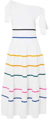 Carolina Herrera Cold-shoulder Striped Stretch-knit Dress - White