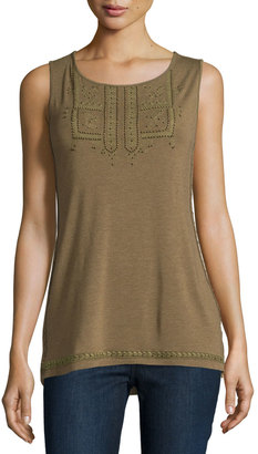 Design History Beaded Embroidered Scoop-Neck Tank, Camo $50 thestylecure.com