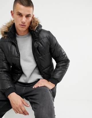 Jack and Jones Core puffer jacket with faux fur hood