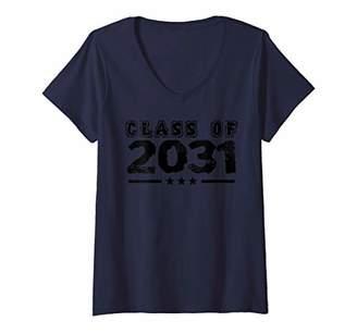 Womens Class of 2031 School University College Funny Kids V-Neck T-Shirt