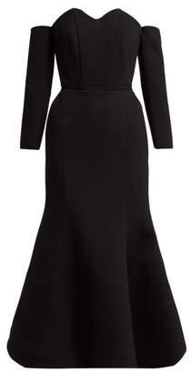 c9644ae66ba45 Vika Gazinskaya Off The Shoulder Structured Midi Dress - Womens - Black
