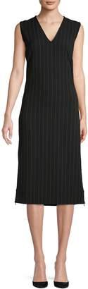 Ganni Pinstriped Midi Dress