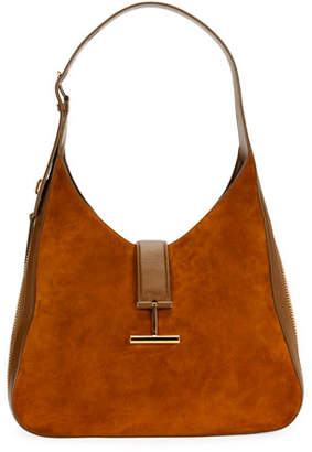 Tom Ford Tara Suede/Leather Shoulder Hobo Bag