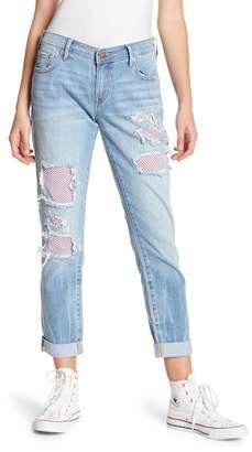 True Religion Cameron Slim Boyfriend Mesh Panel Jeans