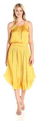 Halston Women's Sleeveless Shirred Jersey Midi Dress