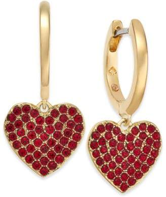 Kate Spade Rose Gold-Tone Pavé Heart Drop Earrings