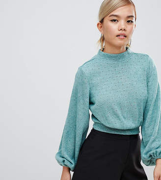 Fashion Union Petite High Neck Knitted Long Sleeve Top