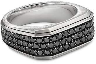 David Yurman Sterling Silver Pavé Roman Signet Ring with Black Diamonds