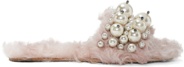 Miu Miu Pink Eco Shearling Pearl Slides