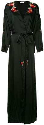 Vilshenko silky poppy trim robe gown
