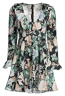 Zimmermann Women's Verity Plunging Floral Linen Mini Dress