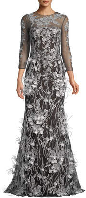 David Meister Embroidered Trumpet Gown w/ Feathers