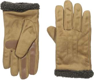Isotoner Men's Smartouch Melange Tweed Brushed Microfiber Glove with Knit Cuff