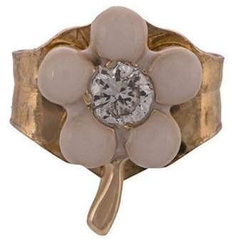 Alison Lou 14kt yellow gold, pink enamel and diamond flower stud