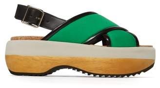 Marni Wood And Neoprene Platform Wedges - Womens - Green