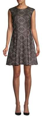 Vince Camuto Printed Cap Sleeve Fit-&-Flare Dress