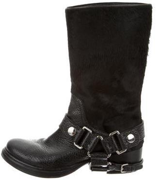Miu MiuMiu Miu Ponyhair Moto Ankle Boots