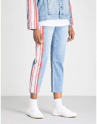 Sjyp Side-stripe straight high-rise jeans