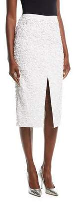 Michael Kors Double-Crepe Pencil Skirt w/ 3-D Floral Embroidery