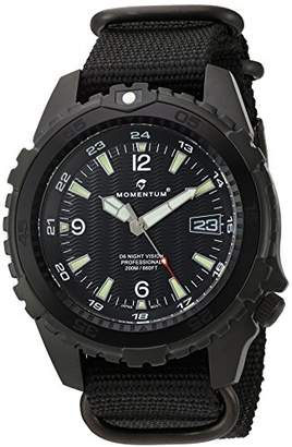 Momentum Men's 'Night Vision' Quartz Stainless Steel and Nylon Diving Watch